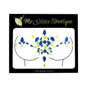 Glow In The Dark Blue Chest Bling Jewel