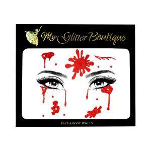 Halloween Blood Face Glitter Sticker