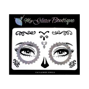 Silver Skeleton Face Stickers
