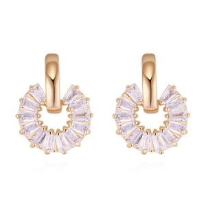 Silver and Gold Circular Rectangular Jewel Earrings
