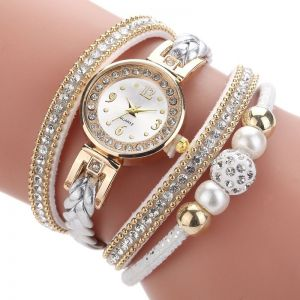 Fashion Round Bracelet Diamond-studded Pearl Beaded Pu Belt Watch