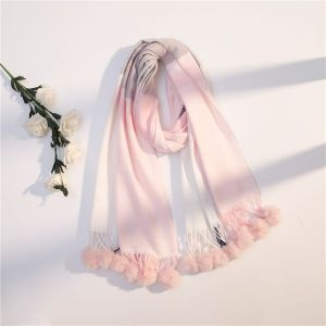 Pink Winter Cute Ball Fringed Long Scarf