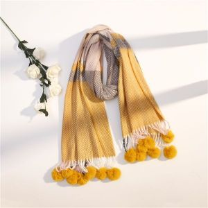 Winter Cute Ball Fringed Long Scarf
