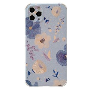 Orange-Blue Flower Phone Embossed Soft Case For Iphone11 Pro