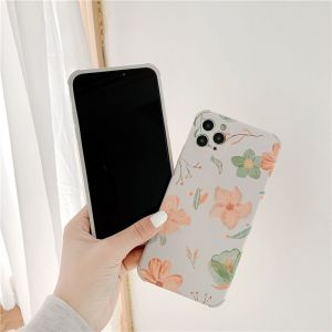 Orange-Green Flower Phone Embossed Soft Case For Iphone11