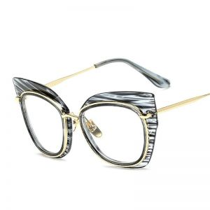 Fashion Big Frame Cat Eye Metal Sunglasses Striped Blue Sunglasses