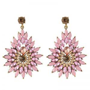 Diamond Flower Rhinestone Long Drop Shape Earrings