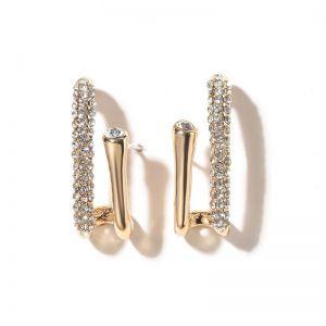 Micro-inlaid Small Circle U-shaped Earrings