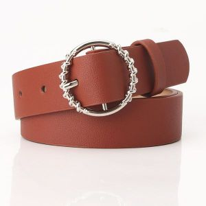 Round Buckle Belt Brown