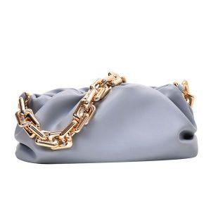 Pastel Blue Shoulder Bag with Gold Chain