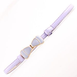 Faux Leather Metal Buckle Bow Thin Belt Purple