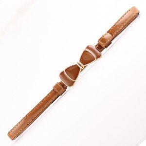 Faux Leather Metal Buckle Bow Thin Belt Camel