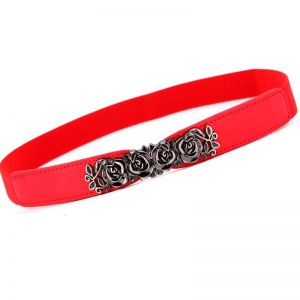 Leather Rose Waist Belt Strap Red