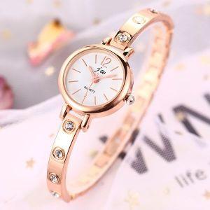 Rose Gold Thin Steel Band Bracelet Diamond-studded Watch