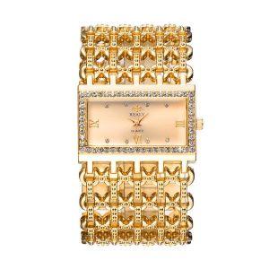 Golden Rectangular Steel Band Ladies Bracelet Diamond Wide Strap