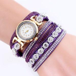 Velvet Winding Pu Belt Bracelet Watch Purple