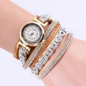 Velvet Winding Pu Belt Bracelet Watch Brown