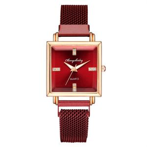 Red Square Dial Trendy Watch