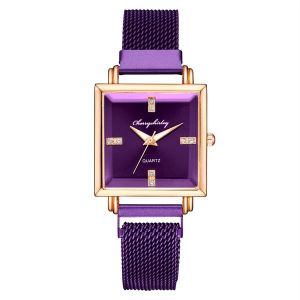 Purple Square Dial Trendy Watch