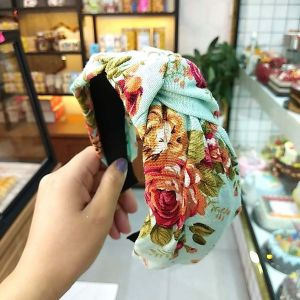 Broad-edged Printed Linen Knotted Headband
