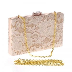 Lace evening banquet bag with diamonds small square bag.