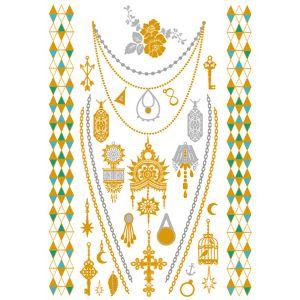 Gold Silver Pendant  Style Metallic Tattoos