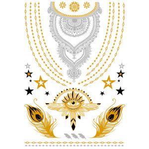 Silver Necklace Metallic Tattoo