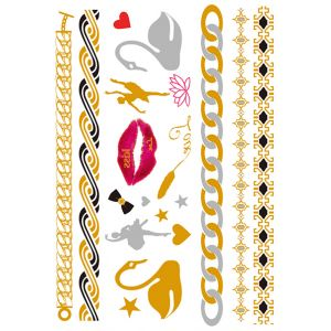 Multi shapes metallic tattoo sheet