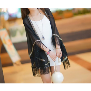 Chiffon Embroidery Side Cape Tassel Sunscreen Shawl