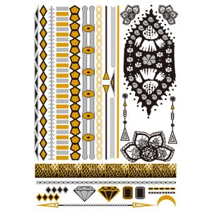Gold, Silver and Black Metallic Tattoo
