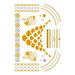 Gold Mermaid Teardrops Metallic Tattoo