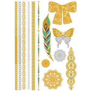 Feather Butterfly Metallic Tattoo