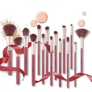 15 Piece Pink Makeup Brush Set