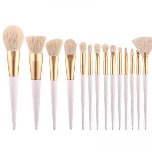 14 Pieces New Makeup Brushes Wood Grain Pointed Tail