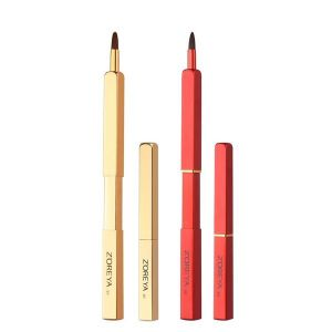 Portable Man-made Fibre Makeup Brush Velvet Red