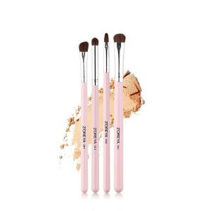 4 Man-made Fibre Pink Wooden Handle Makeup Brush Set
