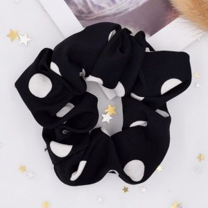 Polka Dot Black Hair Scrunchie