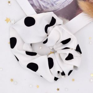 Polka Dot White Hair Scrunchie