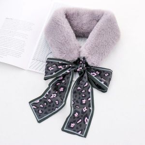 Grey Rabbit Fur Collar Warm Scarf
