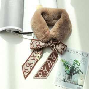 Knitted Wool Winter Imitation Rabbit Fur Warm Scarf