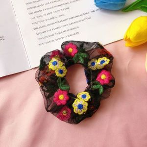 Black Floral Large Scrunchie