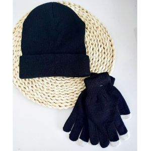 Knitted Hat And Gloves Set Black