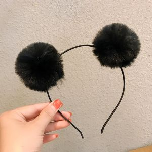Black Fur Ball Headband