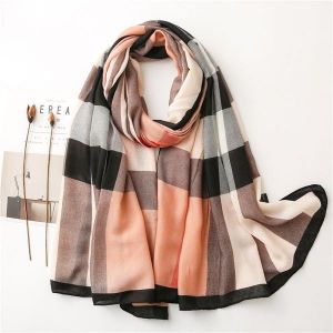 Silk Scarf Warm British Plaid Gauze Sunscreen Beach Shawl Dual-use