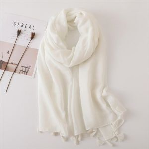 Solid Colour Shiny Tassel Cotton Linen Scarf 180*100