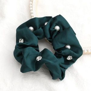 Solid Colour Fabric Diamonds And Pearls Trendy Hair Scrunchies Green