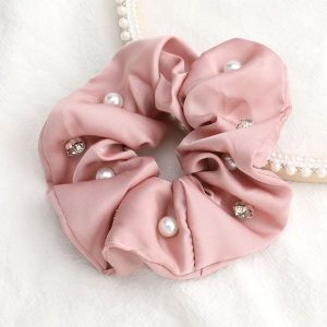 Solid Colour Fabric Diamonds And Pearls Trendy Hair Scrunchies Pink