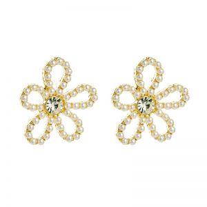 Flower Pearl Rhinestone Earrings