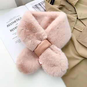 Bowknot Plush Collar Women Autumn Cross Scarf