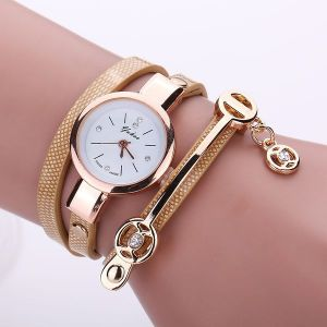 Strap Casual Three-circle Winding Bracelet Watch Beige